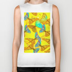 Butterflies - turquoise wings - yellow background #Society6 #buyart Biker Tank