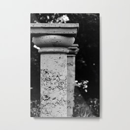 Black and White Garden Columns Metal Print
