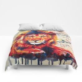 Quiet Ferocity - Original Lion Painting Comforters