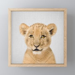 Baby Lion - Colorful Framed Mini Art Print