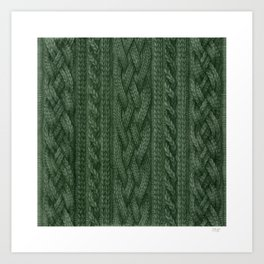 Pine Green Cable Knit Art Print
