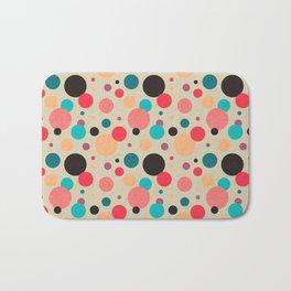 Multicolored Geometric Polka Dot Pattern Bath Mat