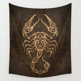 Vintage Rustic Scorpio Zodiac Sign Wall Tapestry
