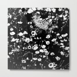 Black and White Wild Flowers Pastel Sketch Effect Nature Metal Print