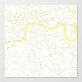 London White on Yellow Street Map Canvas Print