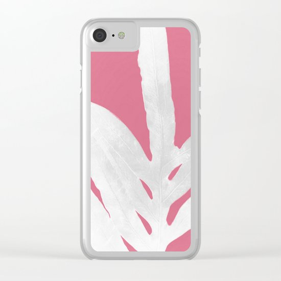 Green Fern on Pale Pink Bashful Inverted Clear iPhone Case