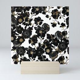 Modern Elegant Black White and Gold Floral Pattern Mini Art Print