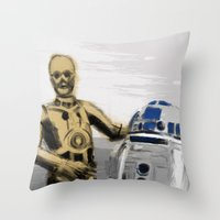 c3po Throw Pillows featuring C3PO & R2D2 by Berta Merlotte