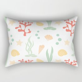 cute summer pattern background with seashells, corals and starfishes Rectangular Pillow