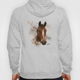 Brown and White Horse Watercolor Hoody