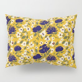 Blue Mustard Ditsy Floral Pattern Pillow Sham