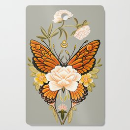 Butterfly Peonies Tattoo Cutting Board