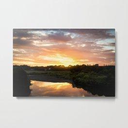 Sunrise over Waiwhakaiho River Metal Print