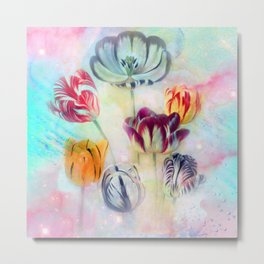 painted tulips on pastell background -c- Metal Print