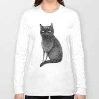black cat Long Sleeve T-shirts featuring Black Cat by Sophie Corrigan