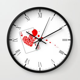 Ace of Hearts With Blood Wall Clock