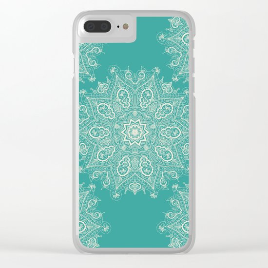 Teal and Lace Mandala Clear iPhone Case