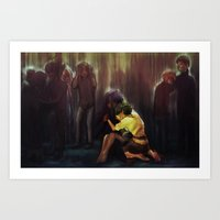 the fault Art Prints featuring not your fault by Tea_