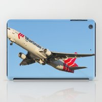 airplanes iPad Cases featuring Martinair Cargo McDonnell Douglas MD-11CF Miami take-off Airplanes by Yan David