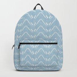 Nappy Faux Velvet Petal Chevron in Powder Blue Backpack