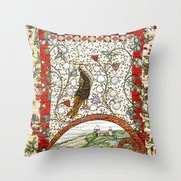 Medieval bird in brown Throw Pillow