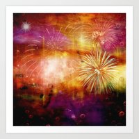 fireworks Art Prints featuring fireworks by haroulita