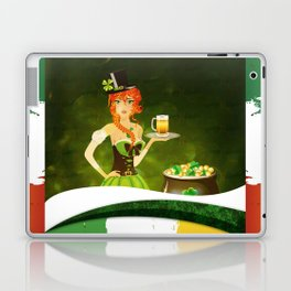 Leprechaun woman with beer Laptop & iPad Skin