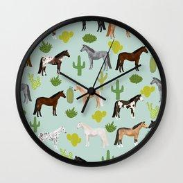 Horses Cactus - horse, cactus, western, texas, cowgirl, girl, cactus fabric, blanket, horse Wall Clock