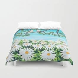 red bellied woodpeckers and daisies Duvet Cover