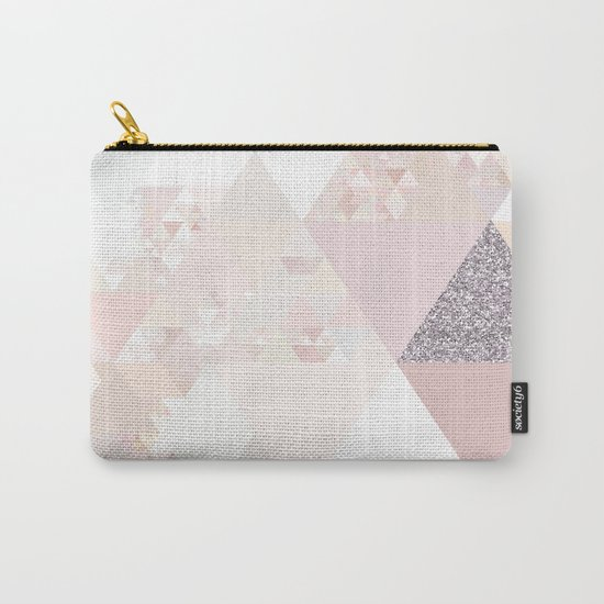 Triangles in glittering Rose quartz - pink glitter triangle pattern Carry-All Pouch