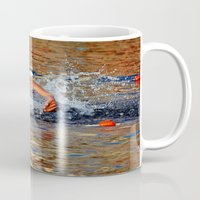 swimming Mugs featuring swimming by  Agostino Lo Coco