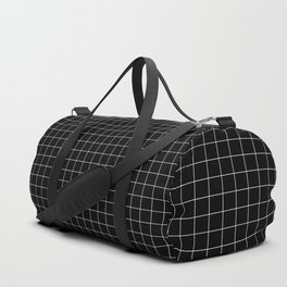 Small White Grid on Black Duffle Bag