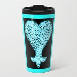 Heartless 8bit style blue neon Travel Mug