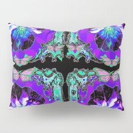 Purple-Turquoise Butterfly& Pansy  Victorian Pattern Abstract Pillow Sham
