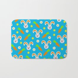 Easter Bunny and Carrots Pattern Bath Mat