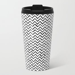 Black and white Hand-drawn ZigZag Pattern Travel Mug