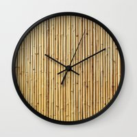 bamboo Wall Clocks featuring Bamboo by Patterns and Textures