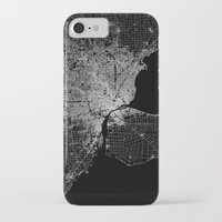 detroit iPhone & iPod Cases featuring Detroit map  by Line Line Lines