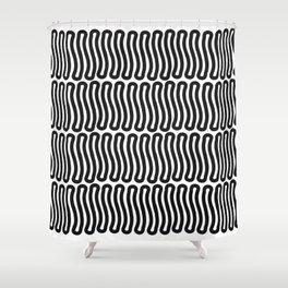 Super Black and White Liquorice laces Shower Curtain