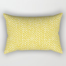 Hand Knit Yellow Rectangular Pillow
