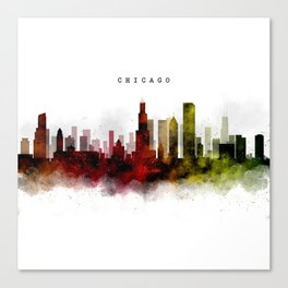 Chicago Watercolor Skyline Canvas Print