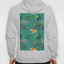 Peacock, tiger,elephant pattern green,blue background  Hoody