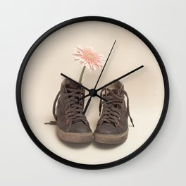 Brown Converse Boots and Pink Flower (Retro Still Life Photography)  Wall Clock