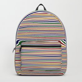 Wavy Stripes in Jewel Tones on White Backpack