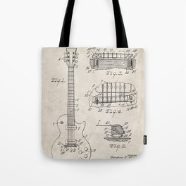 Gibson Guitar Patent - Les Paul Guitar Art - Antique Tote Bag