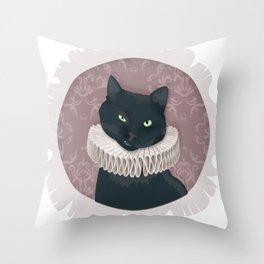 Renaissance Cat Portrait Throw Pillow