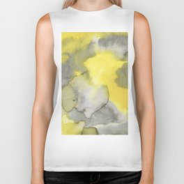 Hand painted gray yellow abstract watercolor pattern Biker Tank