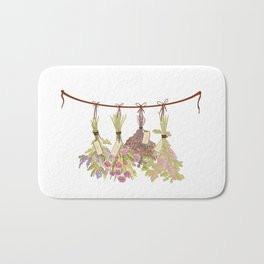 herbs in pastel colors . Bath Mat