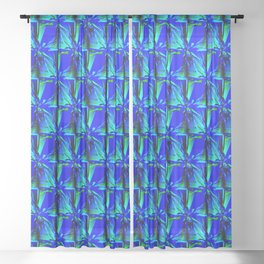 Intense Blue With Green Accents Geometric Pattern Sheer Curtain