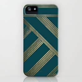 Art Deco Blurred Lines In Teal iPhone Case